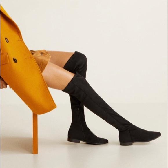 Mango Over The Knee Low Heel Flat Boots